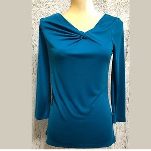 Worthington  Blouse Tunic Top Blue Long Sleeves